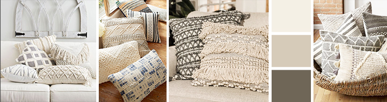Textured beige throw pillows can be used everywhere