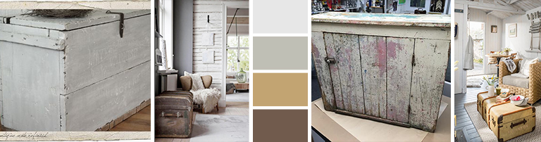 White washed wood storage gives a decorative touch