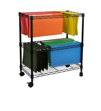 Rolling file racks tame the piles on the desktop for your storage and home essentials project.