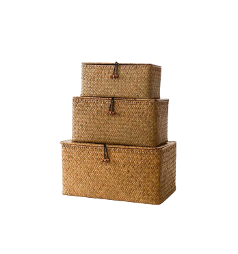 Storage boxes in rattan are a handsome option for the bedroom for your storage and home essentials project.